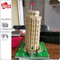 Lezi 8043 architettura mondiale italia torre pendente di Pisa modello di albero Mini blocchi di diamanti mattoni giocattolo da costruzione per bambini senza scatola