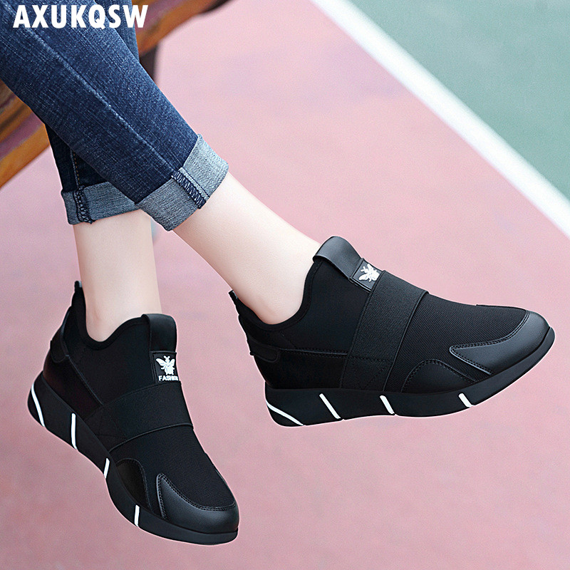 Women's Shoes 2019 Autumn Fashion Wild Ladies Breathable Stretch Tennis Shoes Ladies Casual Thick-soled Comfortable Sports Shoes 1