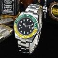 Reloj GMT para hombre automático nuevo verde amarillo bisel caja de acero pulsera 40mm Aseptic mano luminosa zafiro vidrio RL12