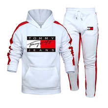 2021 new spring, autumn and winter new men's two-piece sportswear hoodie top + outdoor sports pants sports suit