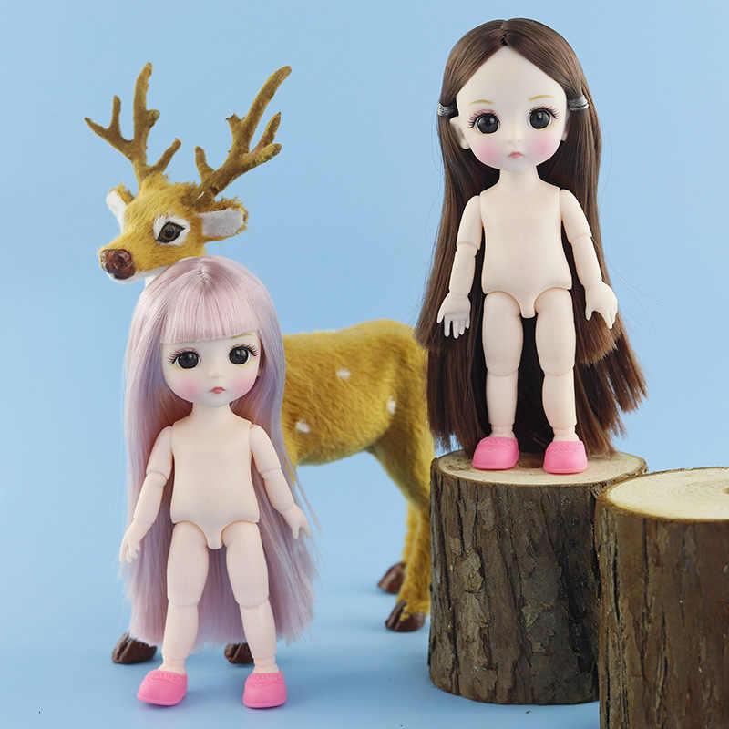 リアルな 13 可動関節人形のおもちゃ子供のための 16 センチメートル 1/12 bjd ベビードール裸ヌードボディのためクリスマスギフト