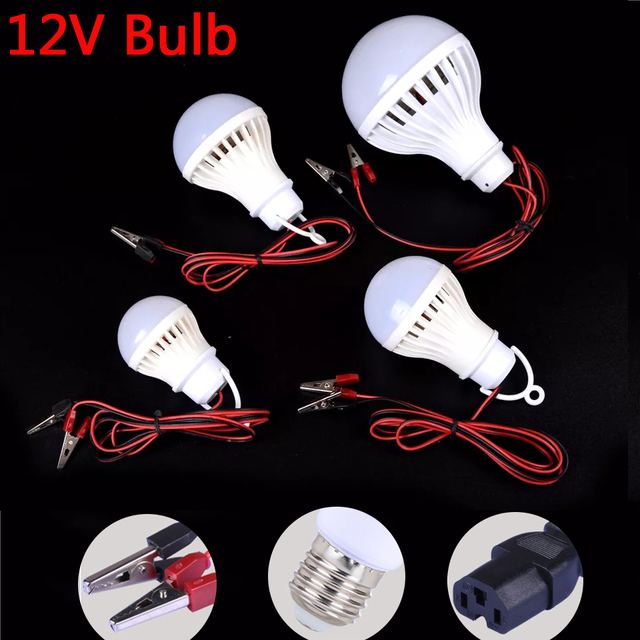 LED Lamp DC 12V E27 Led Bulb 5W 7W 9W Lampada 12 Volts Outdoor Light Night Fishing Hanging Camp Light Emergency Cold White