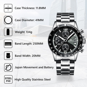 Image 2 - MEGALITH גברים שעונים עסקים קוורץ 30M עמיד למים נירוסטה רצועה שעונים עבור גברים של תאריך אוטומטי שעוני יד שעון Relojes