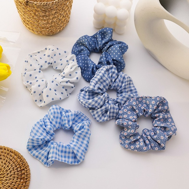 MENGJIQIAO Coloful Korean  Plaid Scrunchie Elastic Hair Rubber Bands for Women Girl Holiday Headwear Ponytail Hair Accessories 1