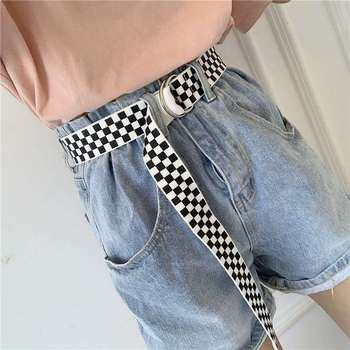 Men Women Belts Canvas Checkerboard Casual Waist Belt Punk 130cm Black White Trouser Female Designer Harajuku Waistband