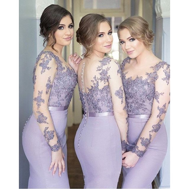 Lilac Purple Long Sleeve Illusion Bridesmaid Dresses Mermaid Satin Plus Size 2020 Lace Maid Of Honor Wedding Party Gowns