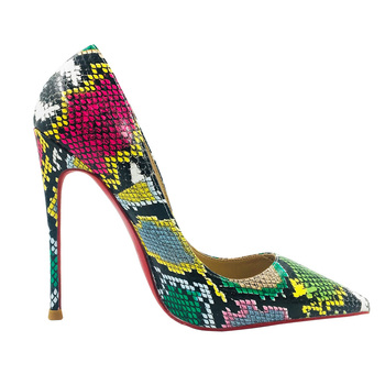 Size 34-45 Colorful Snake Print Genuine Leather Sexy Shallow Stilettos High Heels Women Dress Party Shoes