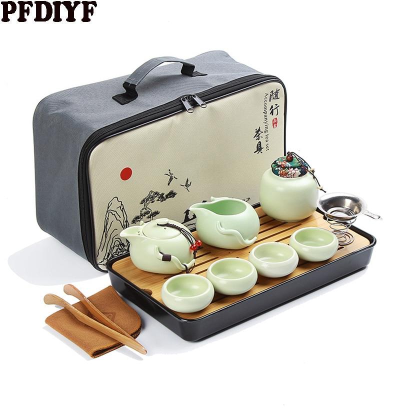 Portable Ceramic Teaware Set Chinese Kung Fu Tea Set Teapot Traveller Teaware With Bag Teaset Gaiwan Tea Cups Of Tea Ceremony