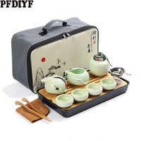 Portatile di Ceramica Tè, Articoli e Attrezzature Set Kung Fu Cinese del Tè Set Teiera Viaggiatore Tè, Articoli e Attrezzature Con Il Sacchetto Teaset Gaiwan Tazze di Tè Di Tè cerimonia
