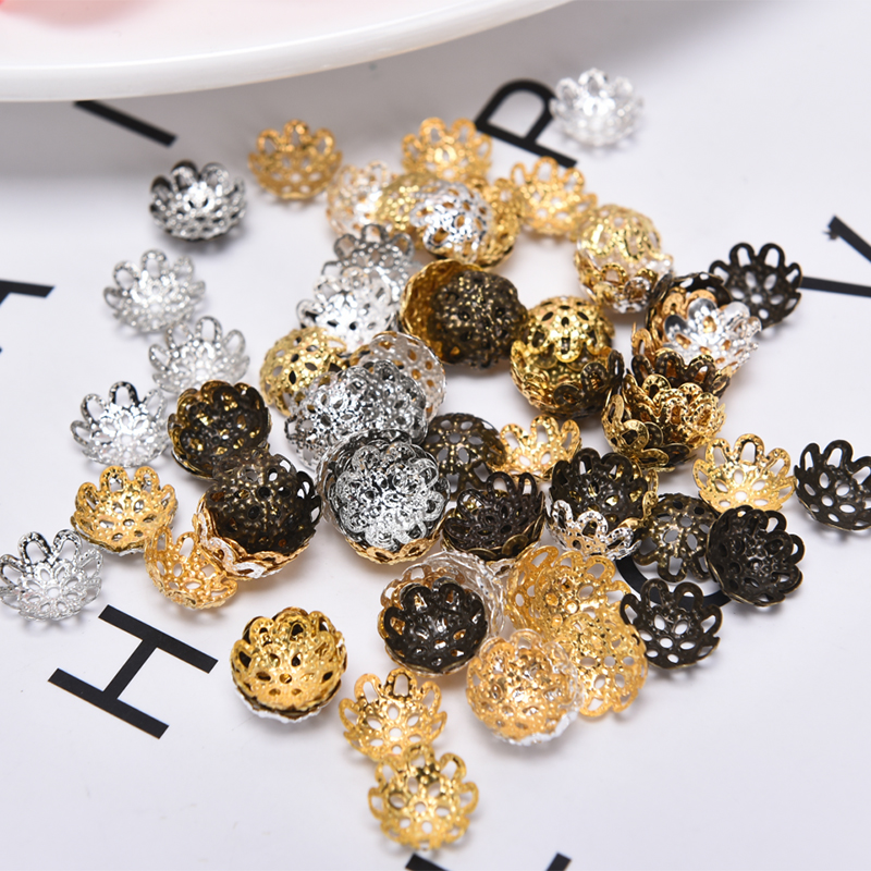 HOT 200Pcs/Set Flower End Spacer Beads Caps Charms Silver Gold Plated Flower Bead Cap DIY Jewelry Making Findings