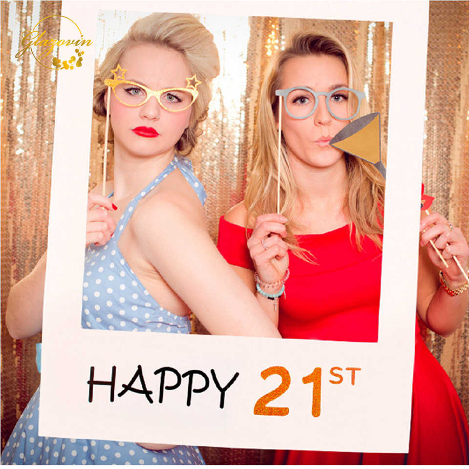 Birthday Photo Booth 30th 40th 50th 60th  Photo Booth Frame Happy Birthday Photobooth Props Adult 21th Birthday Party Decoration