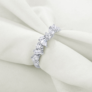 Image 2 - Newshe 925 스털링 실버 불규칙한 흰색 AAA 큐빅 지르코니아 웨딩 약혼 반지 여성 성격 보석 선물