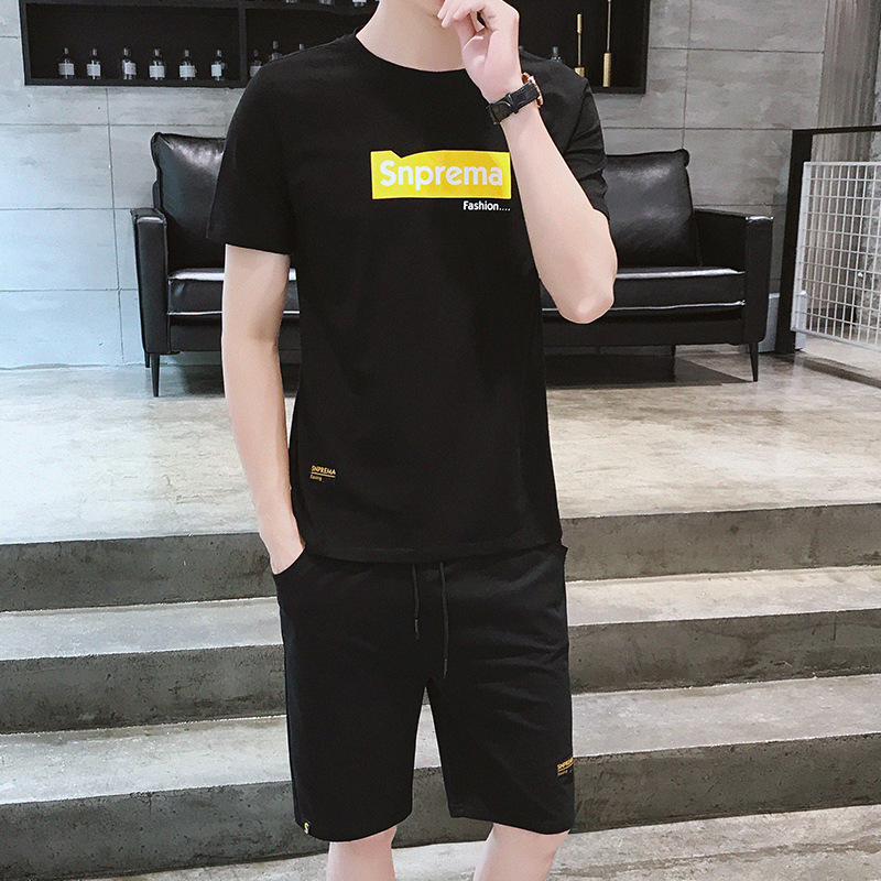 Summer Teenager Casual Sports Two Case Summer New Style Short Sleeve T-shirt Suit Men's Korean-style Trend Sports 1 Case