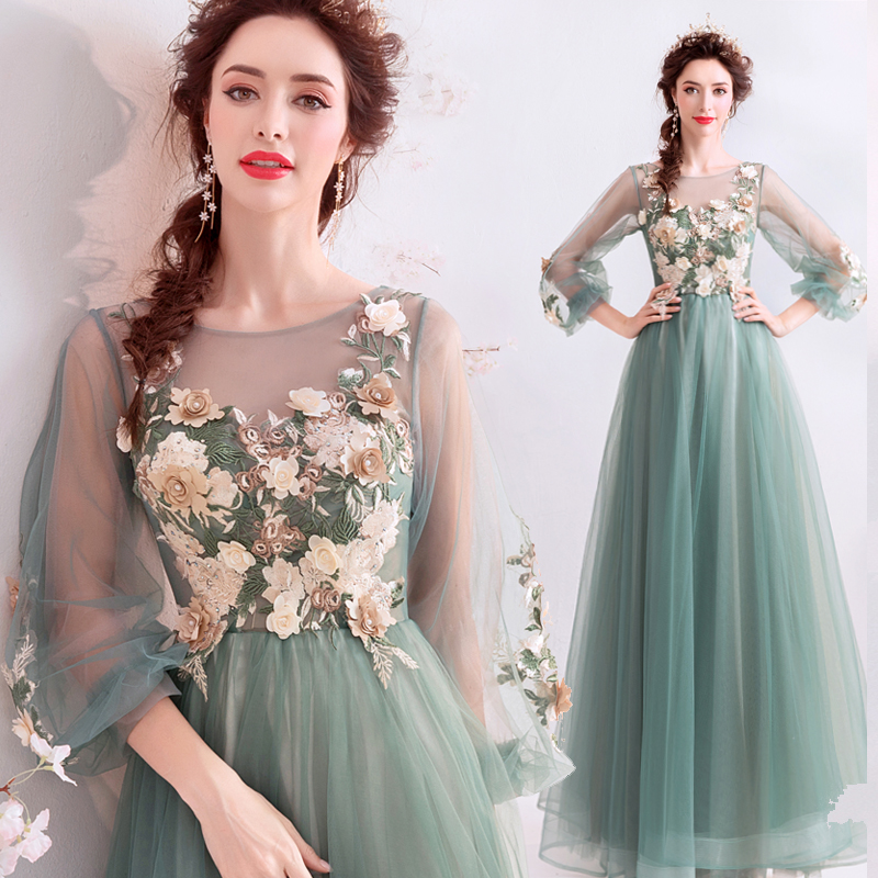 Clearance Sale Evening Dresses Romantic Green Long Sleeve Floor-length Lace Appliques Prom Formal Gowns Vestido De Noche