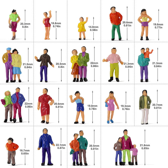 100pcs HO Scale Painted Figures People Model Scale 1:87 Model Train Passengers Assorted Pose 1