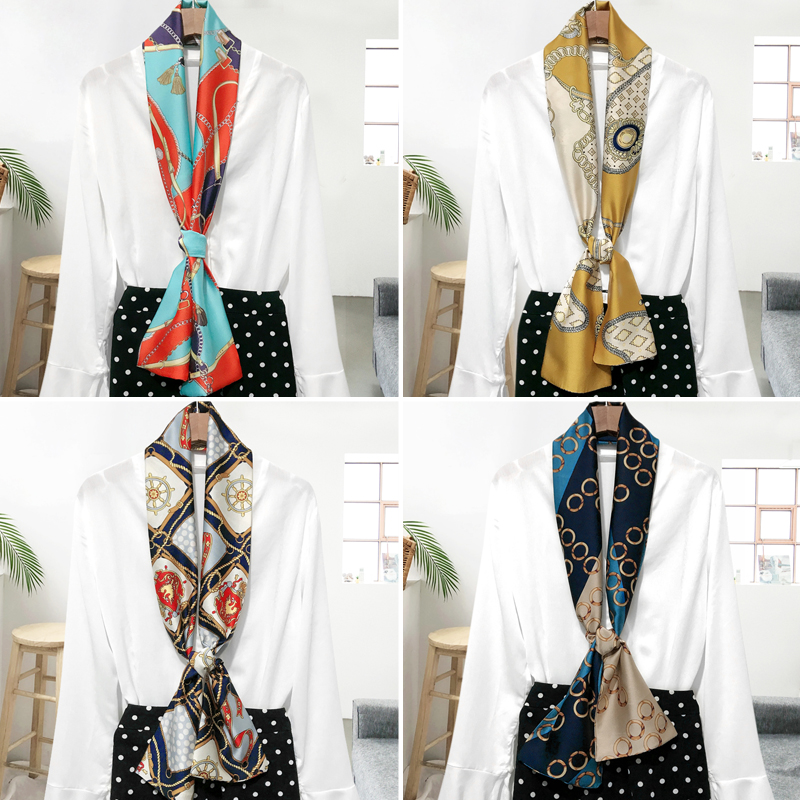 Ins Long Small Silk Scarf Tie Men And Women Decorated Small Scarf Professional Neck Tie Multi-functional Narrow Scarf
