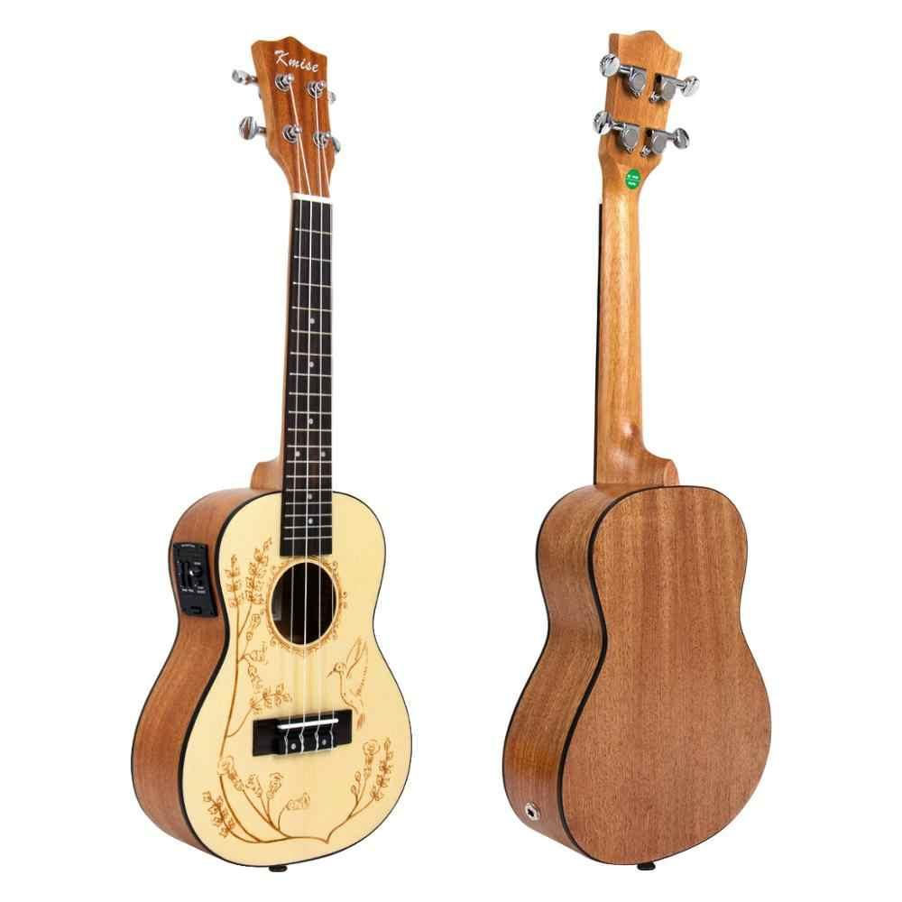 Kmise Ukulele Concert Acoustic Solid Spruce Ukelele Uke 23 นิ้ว 18 Frets 4 String กีตาร์ฮาวาย