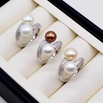 Double pearl ring. Round freshwater pearls. 925 sterling silver. Adjustable. Zircon women's pearl ring. engagement ring 1
