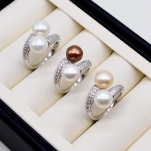 Double pearl ring. Round freshwater pearls. 925 sterling silver. Adjustable. Zircon women's pearl ring. engagement ring daimi 925 silver pearl ring double ring design freshwater pearl five pearl rings