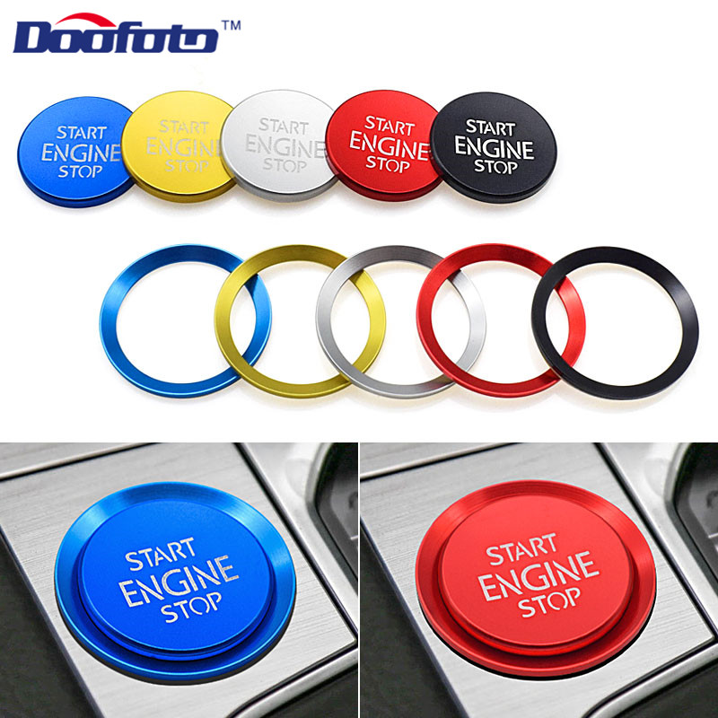 Doofoto Car Sticker Start Stop Engine Button Cover Ring Acceessories For Volkswagen Polo Passat B8 B5 B6 Golf 4 6 7 Caddy Tiguan image