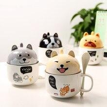Novo 350ml kawaii shiba inu caneca bonito dos desenhos animados cerâmica caneca com tampa e colher café leite chá canecas café da manhã copos drinkware presentes