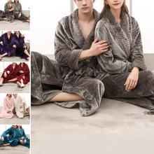Women Men Thermal Luxury Flannel Extra Long Bath Robe Winter Sexy Fur Bathrobe Warm Kimono Dressing Gown Bridesmaid Robes cheap Microfiber Solid Full Mink Woolen Ankle-Length 14020739