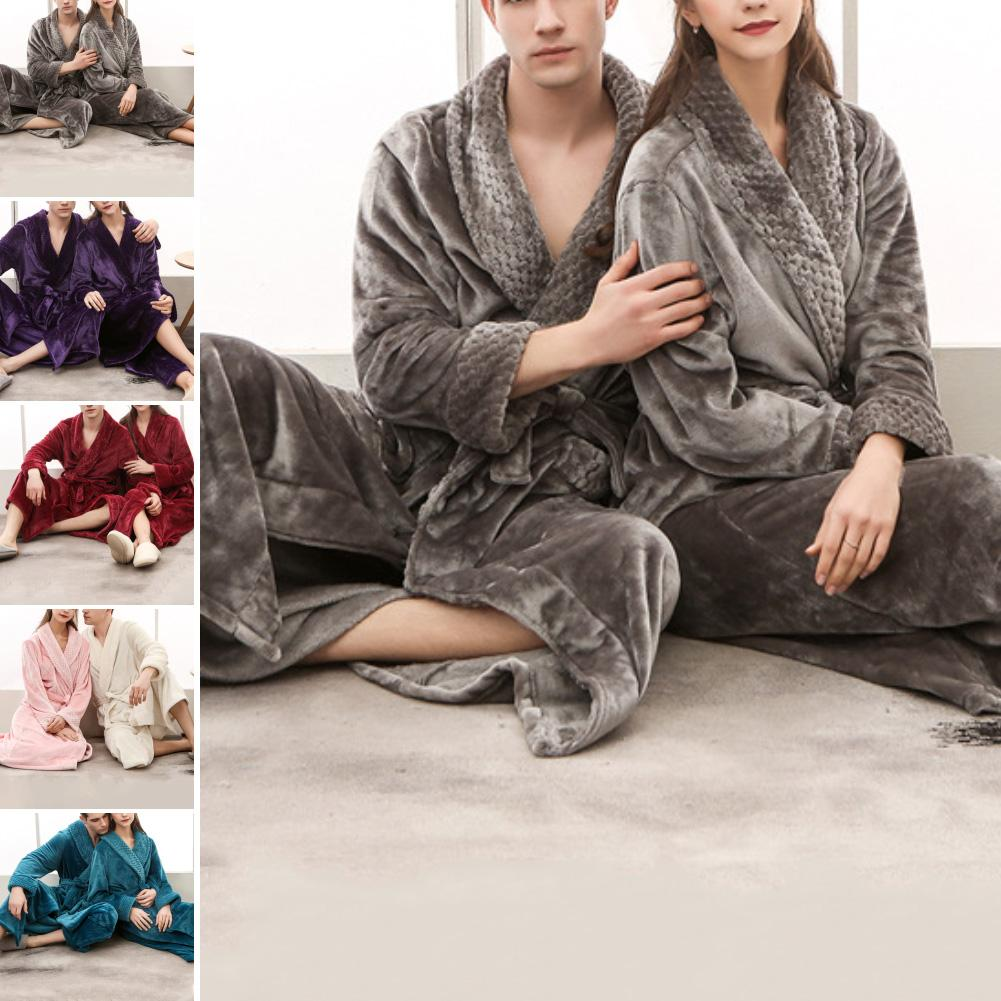 Women Men Thermal Luxury Flannel Extra Long Bath Robe Winter Sexy Fur Bathrobe Warm Kimono Dressing Gown Bridesmaid Robes