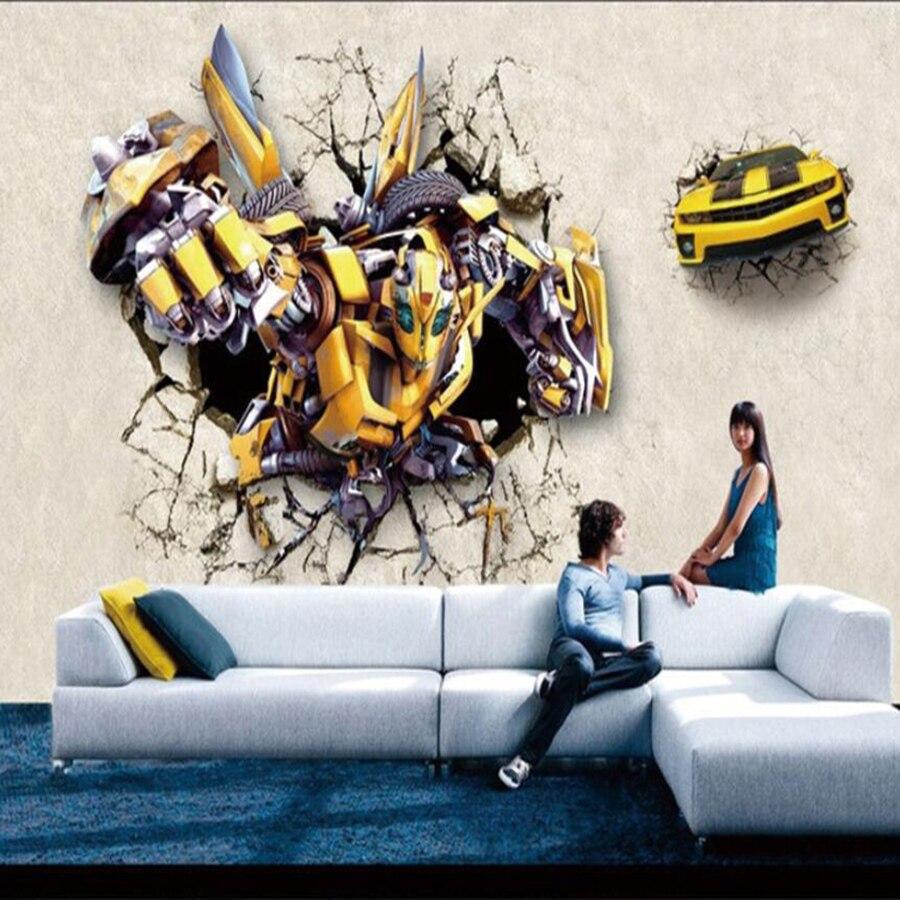 Milofi Custom 3D Wallpaper Mural Transformers Wallpaper Mural Theme Bumblebee Children's Room Background Wall Decorative Paintin
