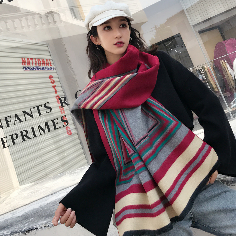 High End Brand Autumn And Winter Scarf Double Sided Thickened Cashmere Like Korean Version Versatile Color Matching Shawl Woman