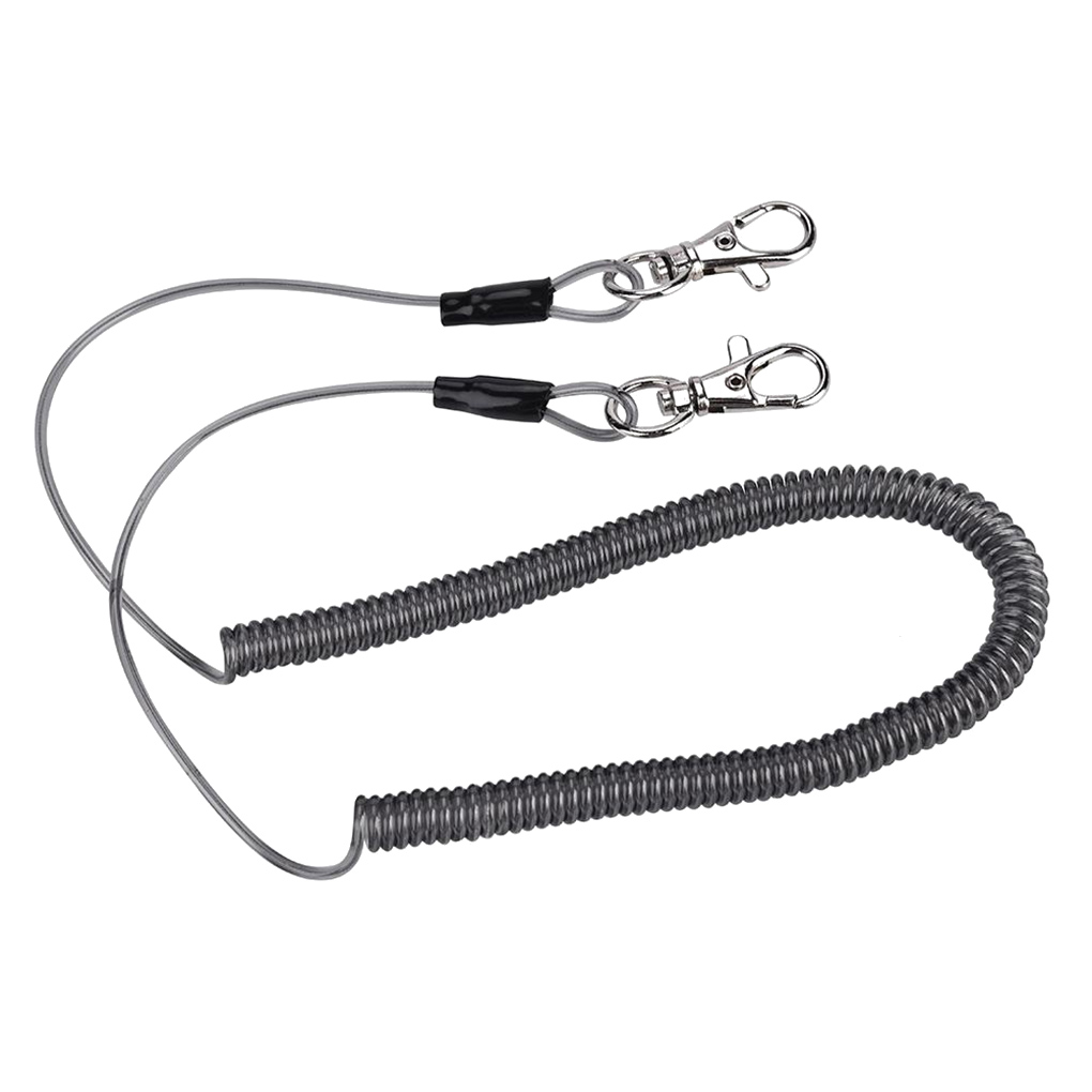 Retractable Coiled Fishing Lanyard Safety Rope Fishing Rod Anti-lost Strap With S Shape Buckle Fishing Tackle