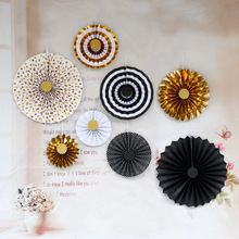 Decorative Party Paper Crafts Paper Flower Fan for Background Wall Wedding Layout Birthday DIY Paper Fan Flower Set decorative wedding party paper crafts 4 12 paper fans diy hanging tissue paper flower for wedding birthday party festival