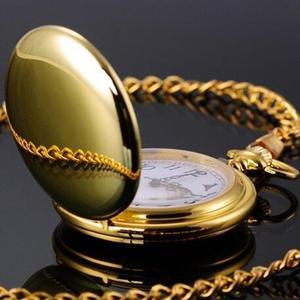 Unisex Retro Smooth Round Dial Arabic Numbers Analog Quartz Chain Pocket Watch