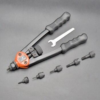 QHTITEC Riveter Nuts Guns Threaded Rivets Screwdriver Staple Rivnut Gun Manual Hand Power Tools for Leather Work M3/4/5/6/8/10 workpro 4 in 1 riveter gun hand riveter heavy duty staple gun nail staple gun for wood