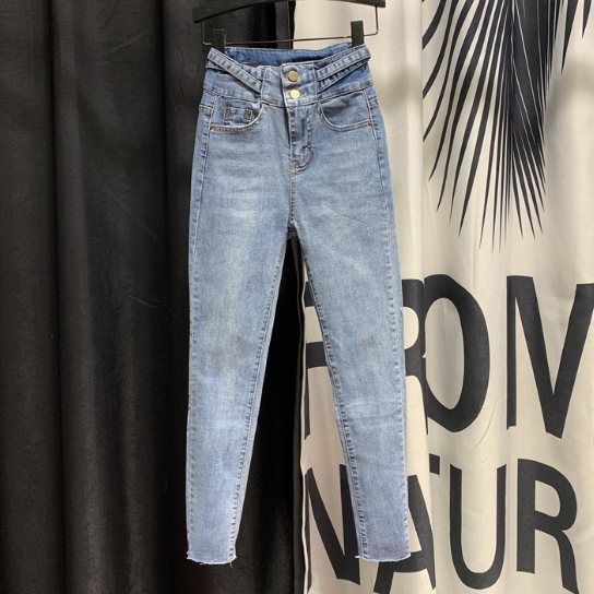 High Waist Jeans Woman New Breasted-Style Skinny Jeans Spring Autumn Women's Solid Color Denim Pencil Pants Student Jeans
