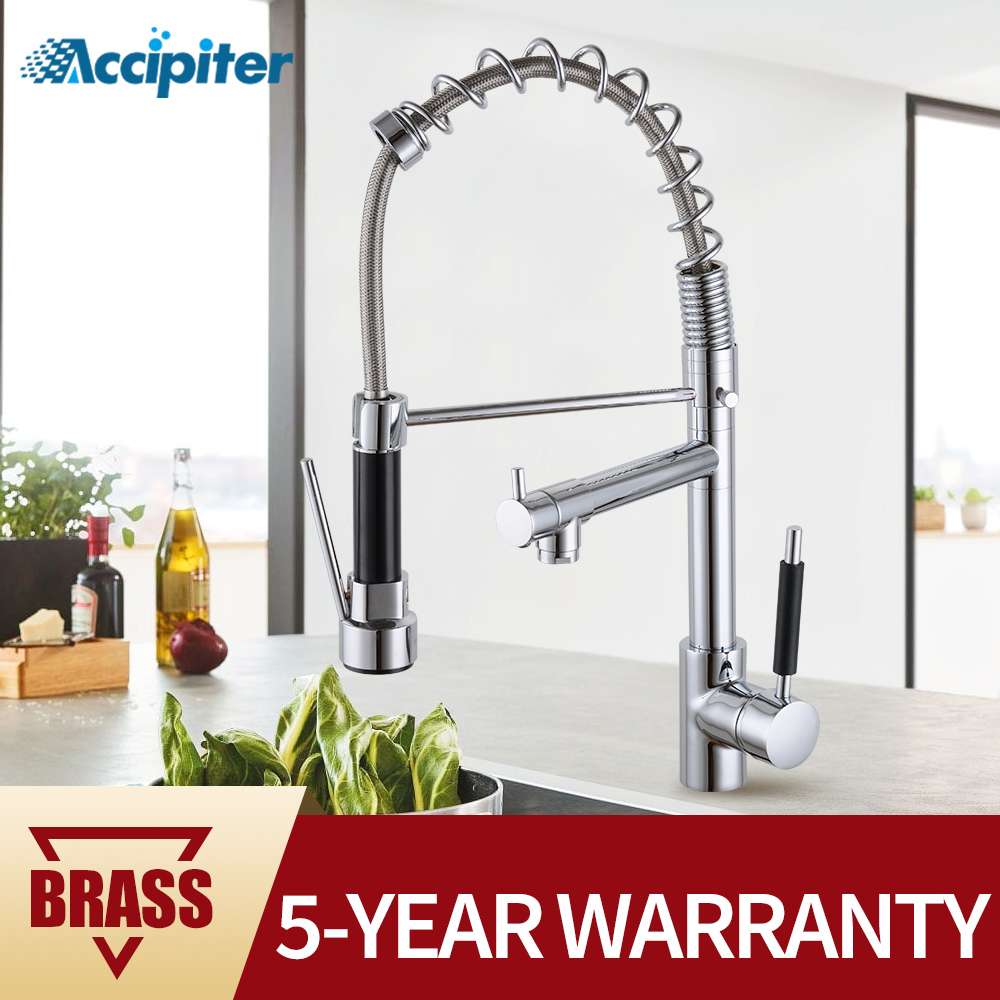 Kitchen Faucets Chrome Brass Faucets for Kitchen Sink Single Lever Pull Out Spring Spout Mixers Tap