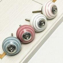 Maçanetas de cerâmica projetadas 41mm, cores mistas, armário, porta, gaveta, puxa móveis, ferragens, pintados à mão