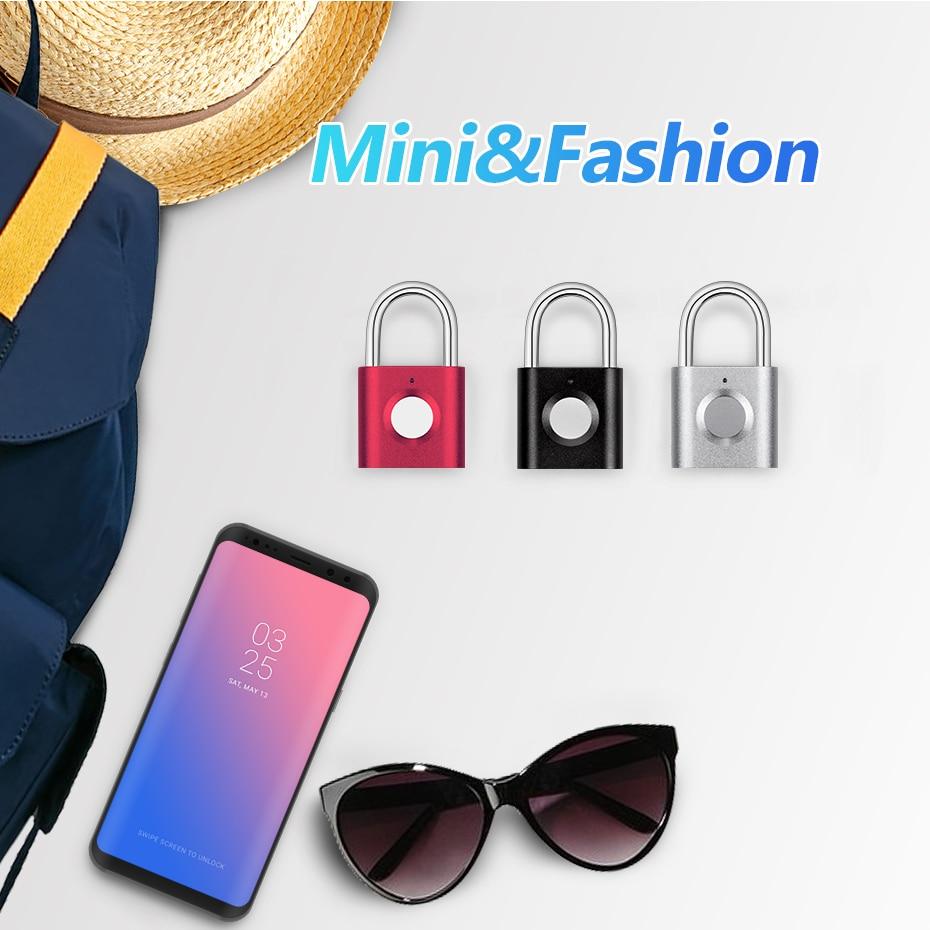 Image 2 - Mini keyless Fingerprint Unlock Anti Theft USB Padlock Door Lock for Door Footprint padlock Locker Box Cabinet Drawer lockElectric Lock   -