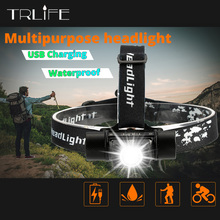 Linterna frontal LED USB impermeable para bicicleta, luz recargable para bicicleta, linterna frontal de Camping sin manos con recordatorio de potencia inteligente
