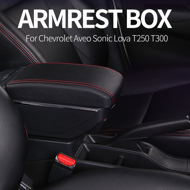Armrest box central Store content Storage box cup holder car-styling accessories For Chevrolet <font><b>Aveo</b></font> Sonic Lova <font><b>T250</b></font> T300 image
