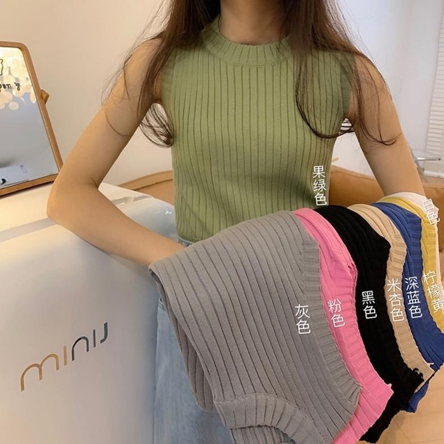 Camisole women's summer outer wear trendy summer new Korean version of the slim inner short knit top, all-match bottoming shirt 1