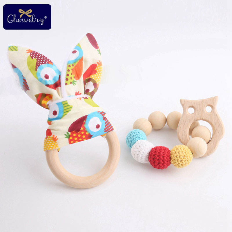 2pc/set Cotton Bunny Ears Baby Wooden Teether Rings Rodent Crochet Beads Beech Wood Teething Baby Rattle Toys For Children Goods