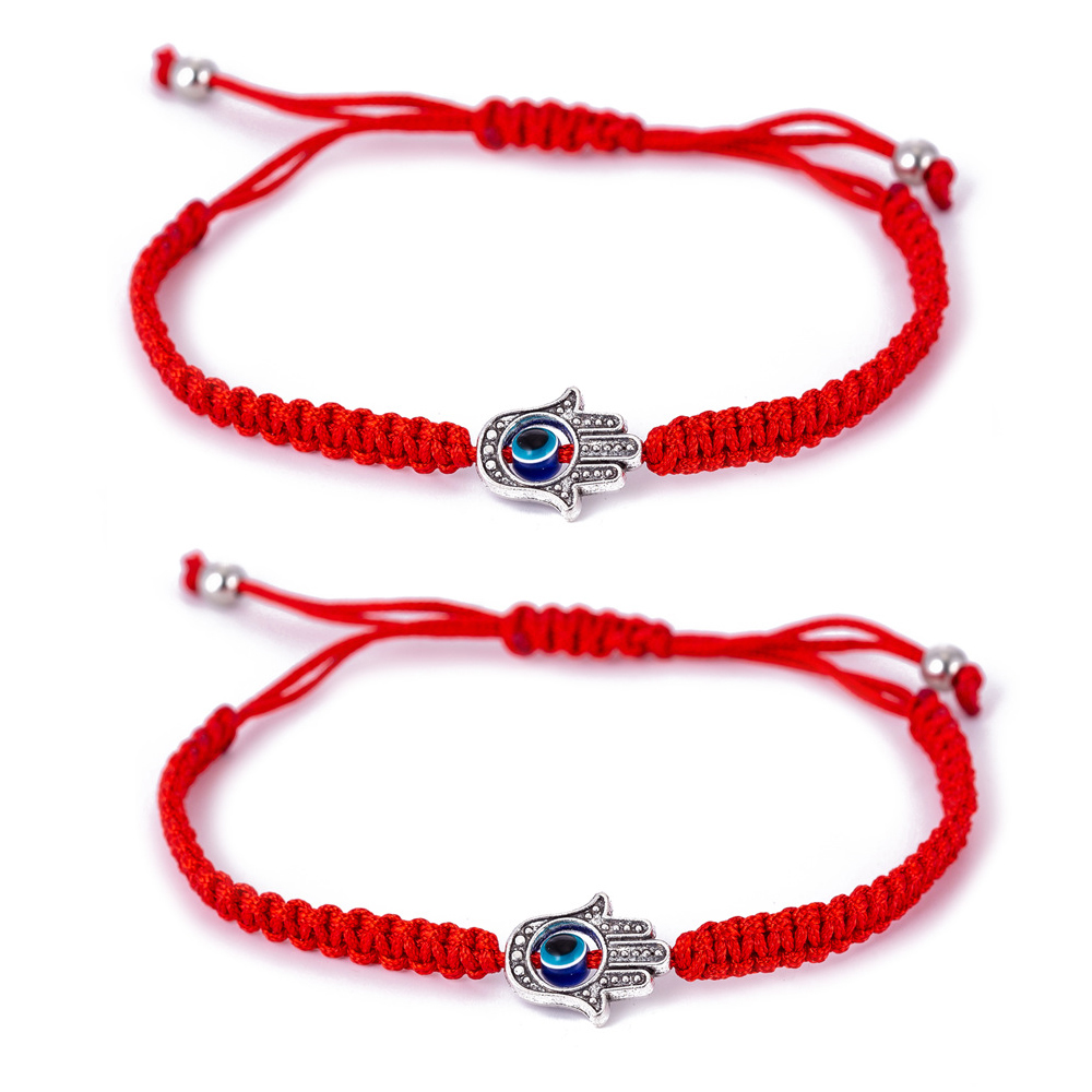 2 Pieces/set Evil Eye Hamsa Hand Charm Bracelets For Protection Luck Kabbalah  Red Thread Amulet Friendship Jewelry