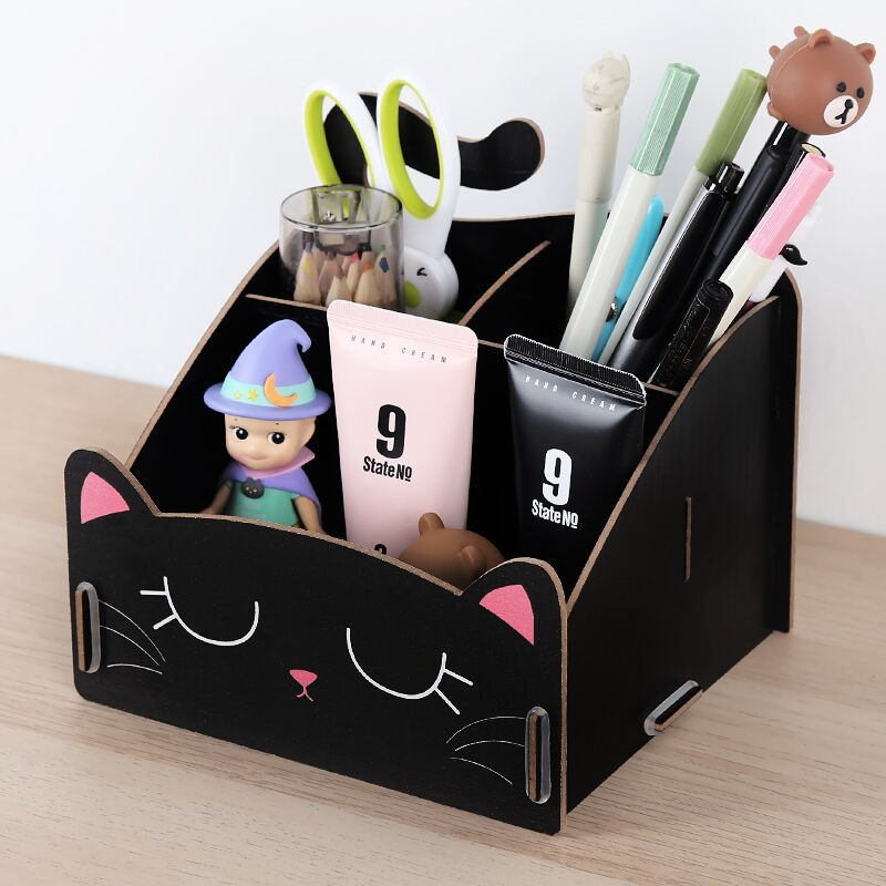 1PCS Multi Function Cat Panda Rabbit Cosmetics Desktop Storage Box Wooden Fashion Creative Cartoon Pen Holder 11*13*15cm
