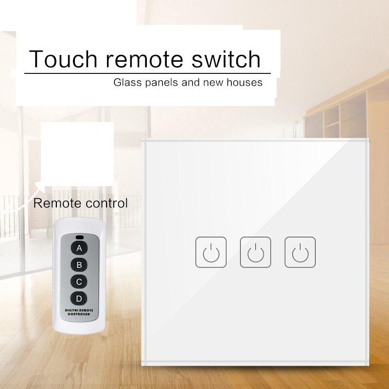 Interruptor de luz de Control remoto inalámbrico 1/2/3 Gang estándar UE/Reino Unido, Interruptor táctil de pared de Control remoto RF433 para hogar inteligente Interruptor de pared estándar UE/Reino Unido, Interruptor táctil de Luz 2 Gang 1 Way AC110V 220V Interruptor táctil de pared