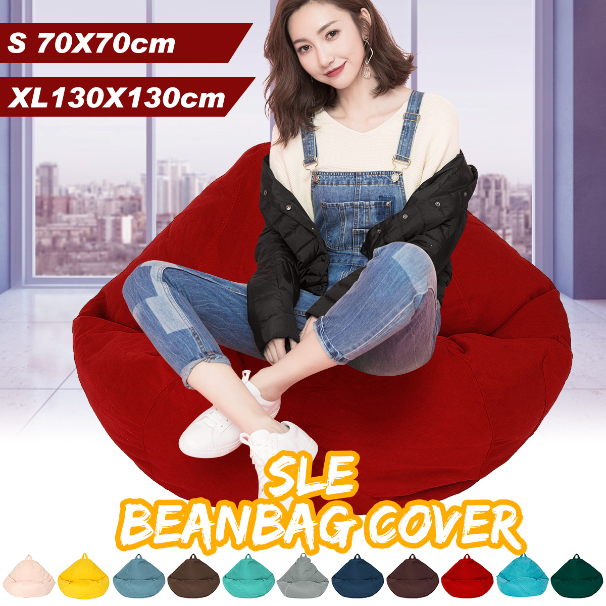 11 Colors 70x70cm Lazy Sofas Cover Chairs Without Filler Linen Cloth Lounger Seat Bean Bag Pouf Puff Couch Tatami Living Room