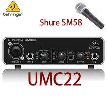 Shure SM58 przewodowy profesjonalny mikrofon wokalny kardioidalny mikrofon dynamiczny do mikrofonu KTV BEHRINGER umc22