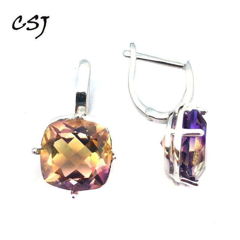 CSJ Ametrine quartz pierre précieuse noble élégant bonne boucle d'oreille en argent Sterling 925 coussin 10mm 9Ct bijoux fins pour les femmes dame cadeau