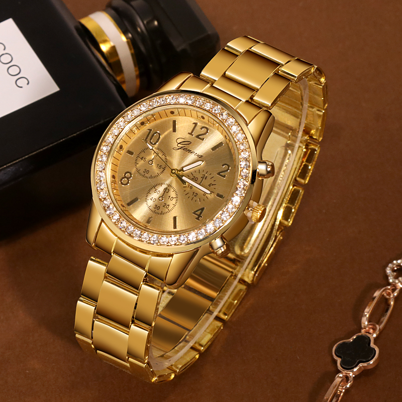 Fashion Women Watch Crystal Stainless Steel Analog Quartz Wristwatch Bracelet Top Band Luxury Women Watches Zegarek Damski