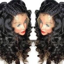 Luźna fala 13x4 koronkowa peruka na przód 150% pre-oskubane z dzieckiem włosy dla kobiet naturalną linią włosów Glueless peruwiańskie włosy Remy Eseewigs