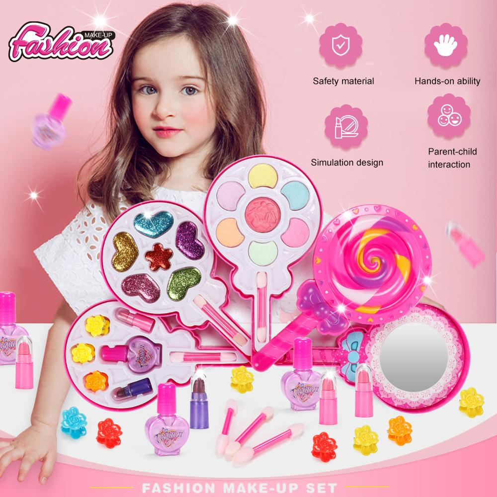 Safety Kid Girls Makeup Box Pretend Play Make Up Toy Non-toxic Makeup Kit Toy For Girls Dressing Cosmetic Travel Box Beauty Toys